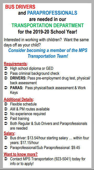 Drivers and Paras needed for transportation flyer